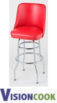 908: New Royal Red Double Ring Bar Stool, Chrome Frame,