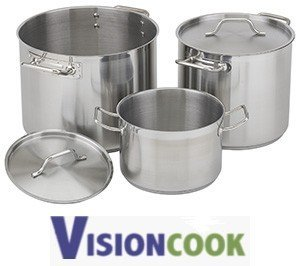 1321: New Royal Stainless Stock Soup Pot w/ Lid 80 Quar
