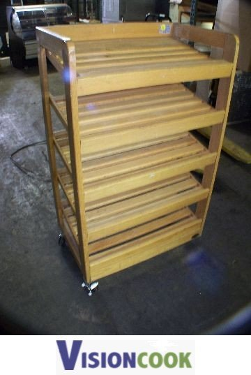 709: Used Wooden Produce Bread Display Rack