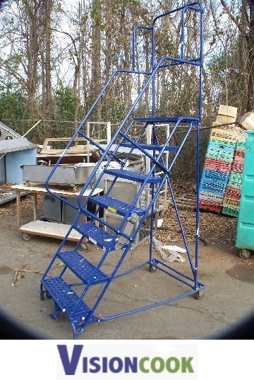 721: Used Mobile Rolling Warehouse Stairs Ladder
