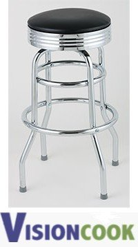 910: New Royal Black Double Ring Diner Bar Stool, 2pk