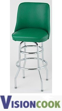 922: New Royal Green Double Ring Bar Stool Chrome 2 pk.