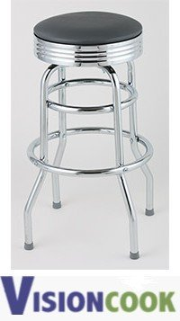 1206: New Royal GRAY Double Ring Diner Bar Stool, 2pk