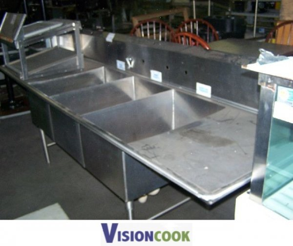 1221: Used Commercial 3 Compartment Stainless Sink