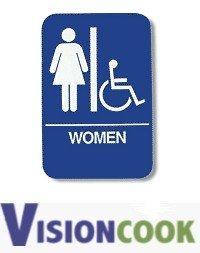 "23: New Women Handicap Restroom Sign with Braille, 6"" x"