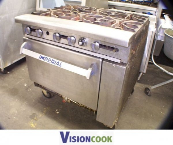 496: Imperial 6 Eye Burner Stove Commercial Oven Used