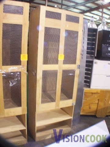 816: Used Wooden Cabinet Caged Storage Case
