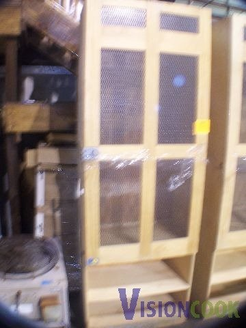 817: Used Wooden Cabinet Caged Storage Case
