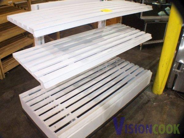 1511: Used Wooden 3 tier Wooden Display Rack shelves