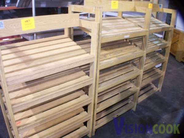 1514: Lot of 3 Wooden Display Bakery Bread shelve Racks