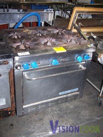 821: Montague Commercial 6 Eye Burner Range Oven GAS
