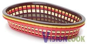 1611: New Flat Bottom Oval Table Baskets - Red, 3dz.