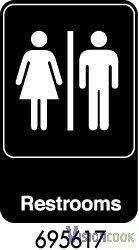 1918: New Royal Unisex Restroom Sign 6 x 9 - Black