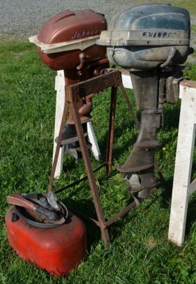 Old Johnson And Evinrude Outboard Motors, Fuel Tank And