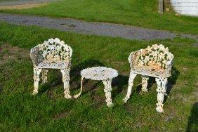 Three Piece Cast Iron Grape Vine Motif Patio Furniture