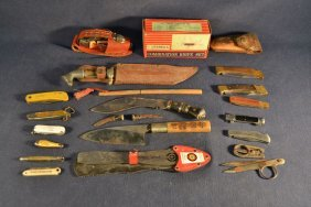 Collection Of Asian Knives, Folding Scissors, Etc.