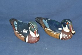 Two Wood Duck Decoys By North American Duck Collection