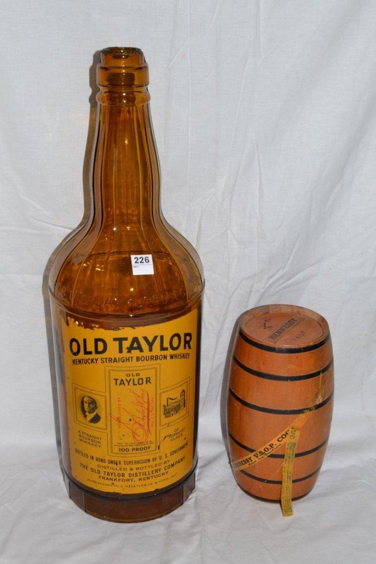 Large Old Taylor bourbon bottle, Hennessy Cognac keg