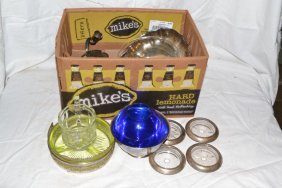 Collection: Vaseline Glass Nut Dish, Coasters, Silver