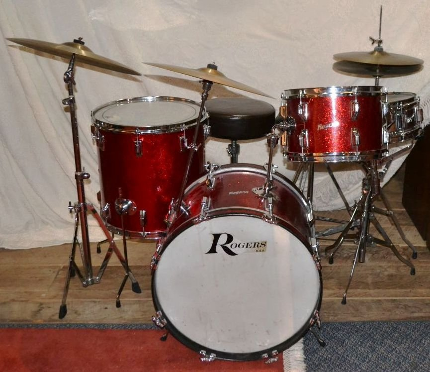 Vintage Rogers drum set, drum sticks, cases, etc.;
