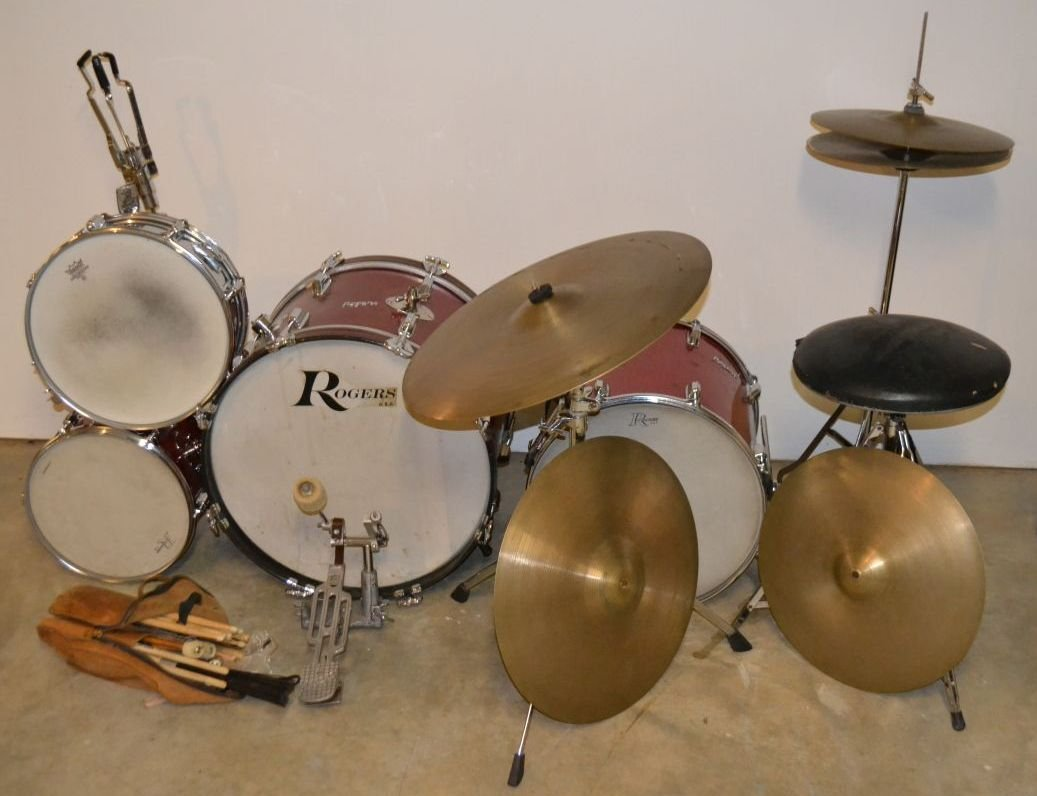 Vintage Rogers drum set, drum sticks, cases, etc.; - 3