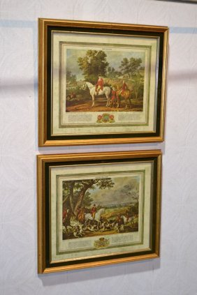 Two French Framed Hunting Prints