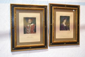 Two Framed 19th Century Book Print Portraits