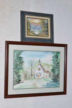Two Framed Original Works: Watercolor On Paper Of St.