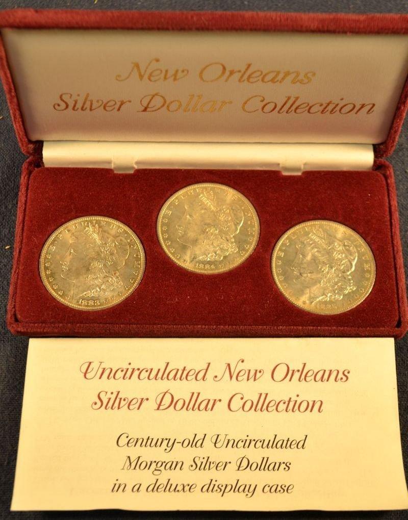 Three New Orleans Morgan dollars:  1883-1885 (Littleton