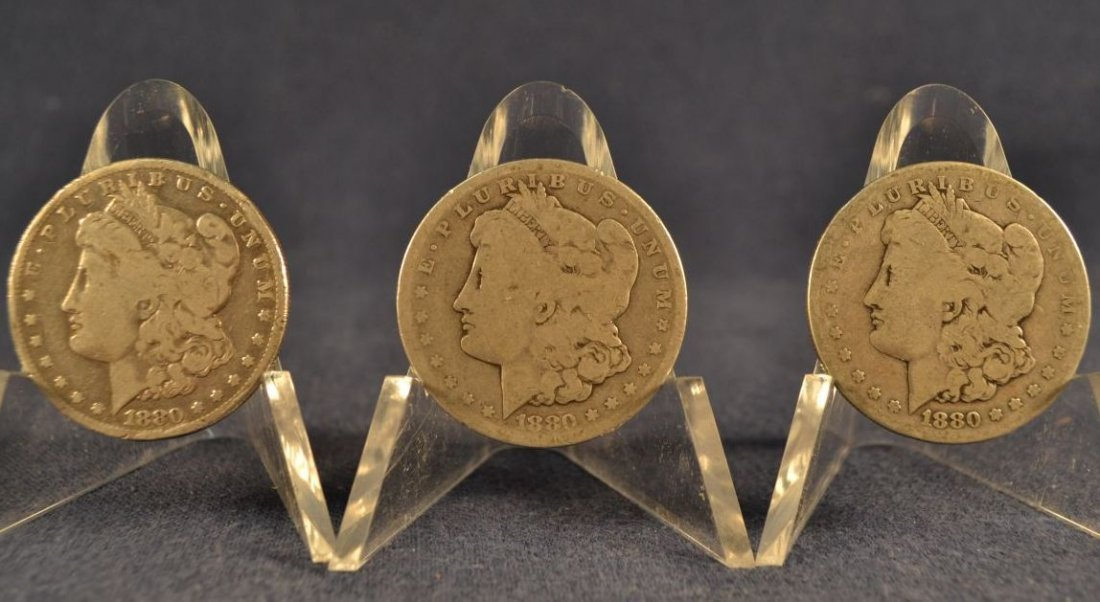 Three 1880S Morgan dollars