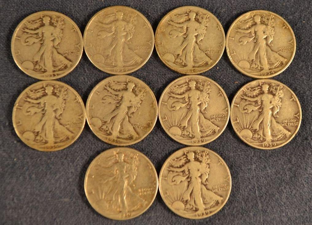 Ten Walking Liberty silver half dollars:  1933, 3-1934,