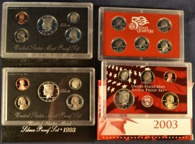 Three Us Silver Proof Sets: 1992, 1993, 2003