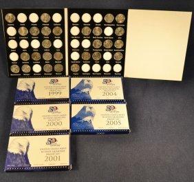 Five Us Mint State Quarters Proof Sets: 1999, 2000,