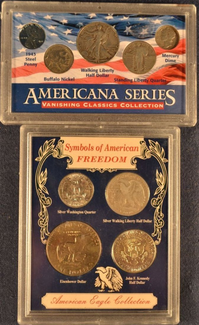 Two coin sets:  Americana Series, American Eagle
