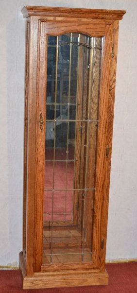 Oak And Glass Illuminated Display Cabinet,