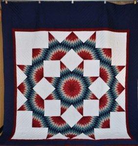 Amish Made Patchwork Quilt, Broken Star - Rose & Teal,