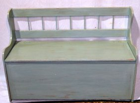 Blue Painted Wood Storage Bench