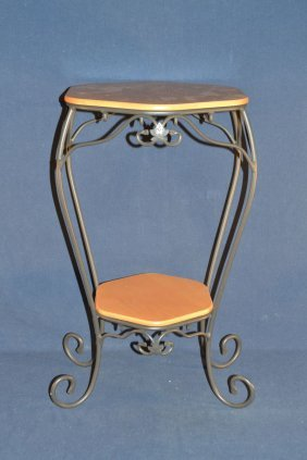 Longaberger Wrought Iron And Wood Hexagonal Two Tier