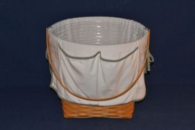 Longaberger Large Basket With Handle, Cloth And Plastic