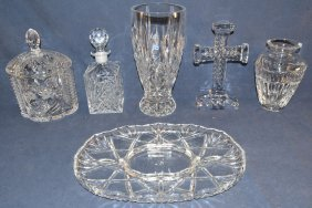 Six Leaded Glass Objects Including Decanter, Biscuit