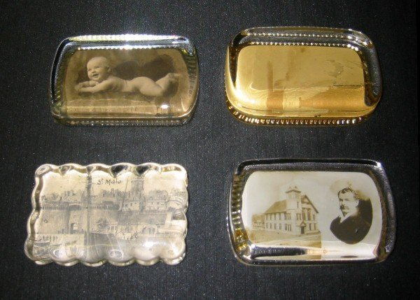 """6: Four antique paperweights. 4"""" x 2 3/4"""""""