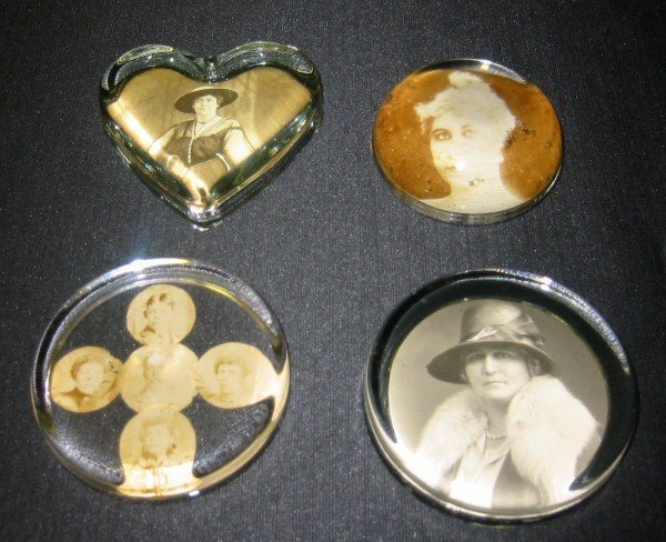 """7: Four antique paperweights. 3 3/4"""""""