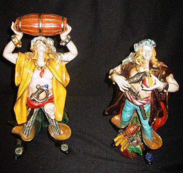"11: Two Italian polychrome terracotta figures. 11 3/4"","
