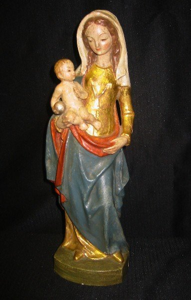 12: Continental carved polychrome figure of the Madonna
