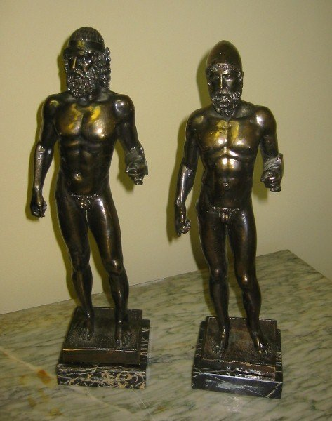 """13: Pair of classical spelter figures. 12 3/8"""""""