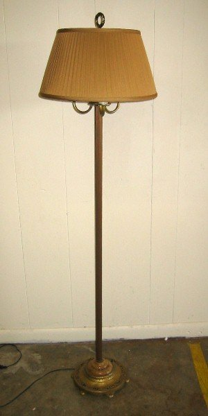 363: Art Deco metal floor lamp with lighted base. 63""