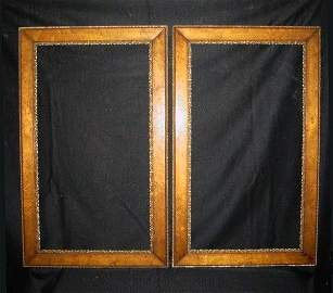 """599: Pair of birds eye maple and gilt gesso frames. 38"""""""