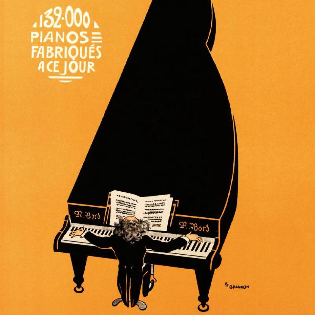"""Pianos A Bord"" Hand Pulled Lithograph by the RE - 2"