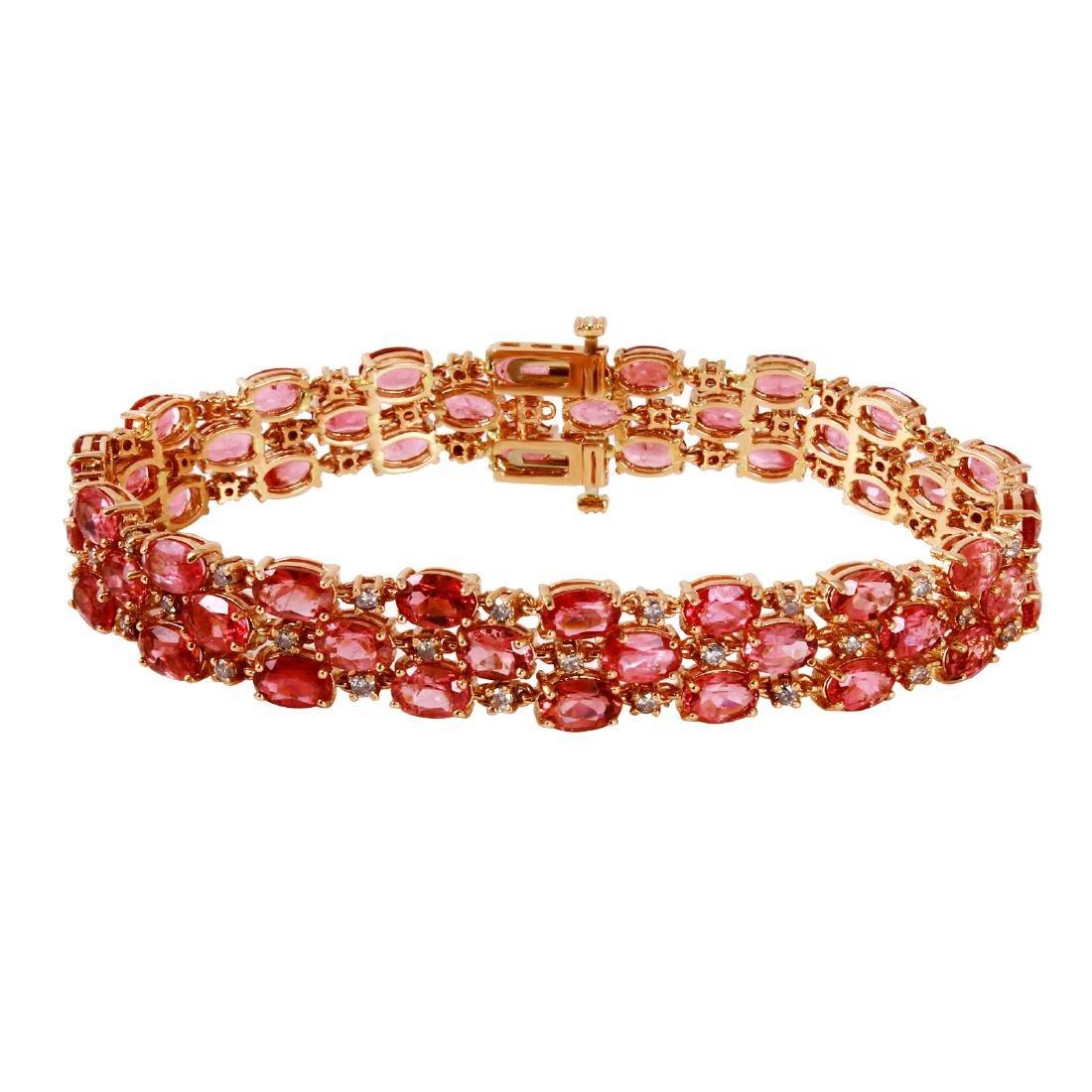 14KT Rose Gold Tourmaline & Diamond Bracelet
