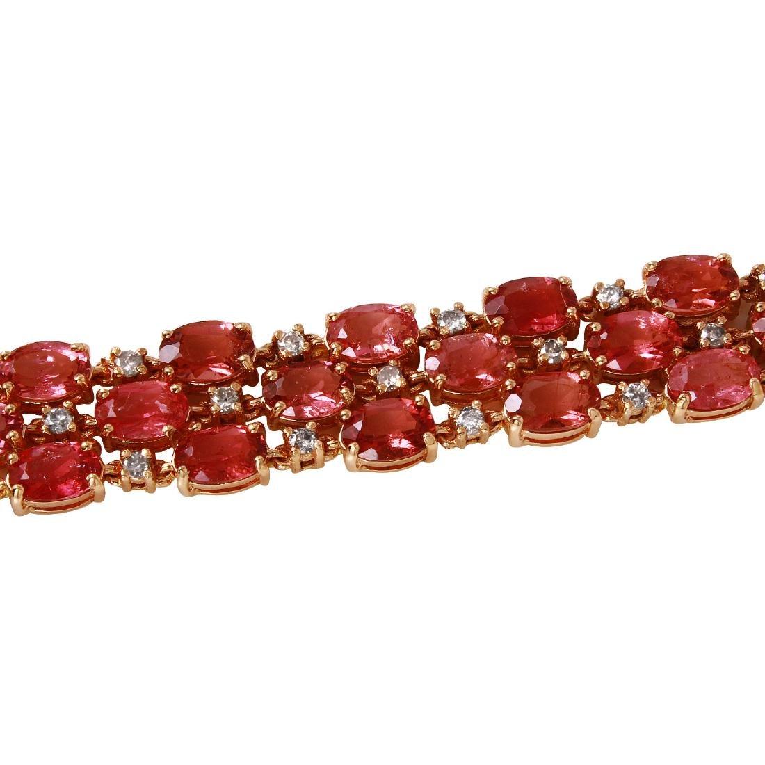 14KT Rose Gold Tourmaline & Diamond Bracelet - 2
